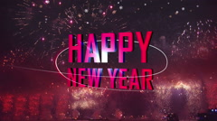 Happy new year fireworks light flares back Stock Footage