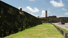 Walls of the Galle fort the largest remaining fortress in Asia - stock footage