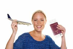Woman with model airplane Stock Photos