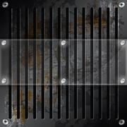 Mirror label metallic grille rusty background Stock Illustration
