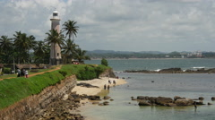 Galle fort and lighthouse in Sri Lanka Stock Footage