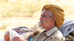 Indian poor nomad in the Thar Desert . Pushkar, India - stock footage