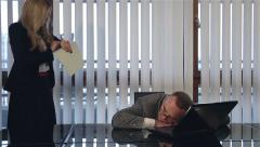 Male business manager sleeping at work and angry female boss loudly wake him up. Stock Footage