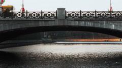 Bridge Over River Svislach in Minsk, Belarus Stock Footage