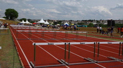 Obstacle  track. Athletes. Starting Line. Games Stock Footage
