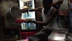 Delhi chai vendor making tea Stock Footage