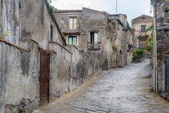 Forsa d'Agro ancient streets. Sicily. Stock Photos