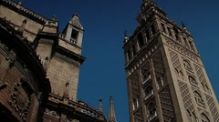 City of Seville Cathedral and the Giralda Stock Footage