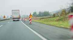 Closed emergency lane on highway Stock Footage