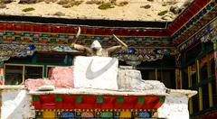 Details of the architecture of the building in tibet Stock Photos