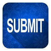 submit flat icon, christmas button. - stock illustration