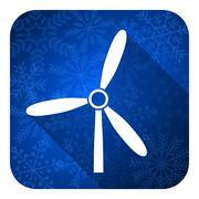 Windmill flat icon, christmas button, renewable energy sign. Stock Illustration