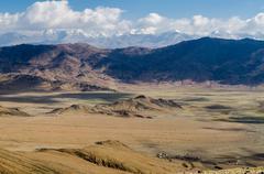 view of the himalayan mountains. tibet - stock photo