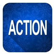Stock Illustration of action flat icon, christmas button.