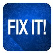 Fix it flat icon, christmas button. Stock Illustration
