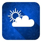 cloud flat icon, christmas button, waether forecast sign. - stock illustration