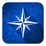 compass flat icon, christmas button. - stock illustration