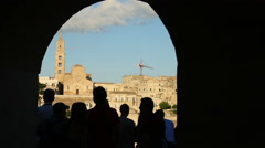 silhouette of tourist people enjoying in Italian old city Matera:  cherish,  - stock footage