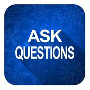 Ask questions flat icon, christmas button. Stock Illustration