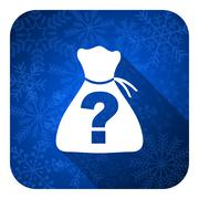 riddle flat icon, christmas button. - stock illustration
