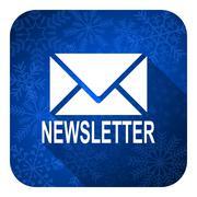 Newsletter flat icon, christmas button. Stock Illustration