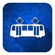 tram flat icon, christmas button, public transport sign. - stock illustration