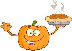 Smiling Pumpkin Cartoon Character Holding Perfect Pie - stock illustration