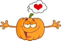 Halloween Pumpkin With Open Arms For Hugging And Speech Bubble With Heart - stock illustration