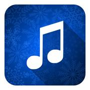 Music flat icon, christmas button, note sign. Piirros