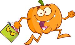 Stock Illustration of Goofy Halloween Pumpkin Cartoon Character Running With Bag Of Candy
