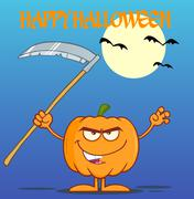 Scaring Halloween Pumpkin With A Scythe Greeting Card Piirros