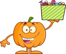 Smiling Halloween Pumpkin Character Holds A Box With Candy - stock illustration