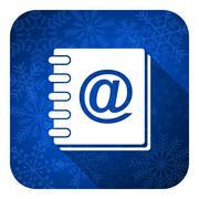 address book flat icon, christmas button.. - stock illustration