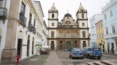 The famous Sao Francisco Church in Salvador, Bahia, Brazil. Stock Footage