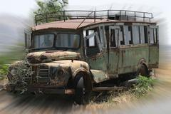 Oldtimer bus - rustined and abandoned - stock photo