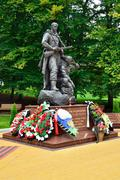 Memorial to warrior - scout. victory park, kaliningrad, russia Stock Photos
