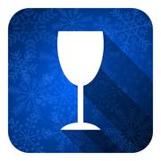 Stock Illustration of alcohol  flat icon, christmas button, glass sign.