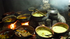 Traditional Sri Lankan Clay pot cooking Stock Footage