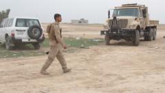 Kurdistan Soldier Patrols Stock Footage