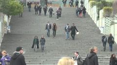 Paris La Defance business center,crowd go down stair  Stock Footage
