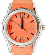 one minute to twelve o'clock on orange wristwatch - stock photo