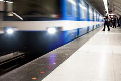 Colorful Underground Subway Train with motion blur - stock photo
