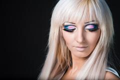 Fashion model with barbie doll make-up Stock Photos