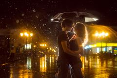 Kiss in the moonlight. raster Stock Photos