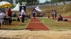 Long Jump. Men competition. Athletes. Olympic games Brazil. Stock Footage