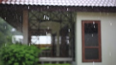 Terrace house, trees in the rain. Change focus with blurred background. HD. Stock Footage