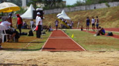 Long Jump. Men competition. Athletes. Games Brazil. Stock Footage