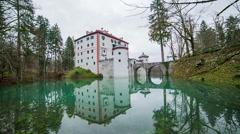 Old castle Sneznik in beautiful scene jib shot Stock Footage