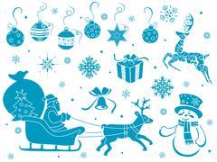 Set of christmas stencils Stock Illustration