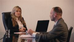 Business people sitting and talking on the meeting at the office. Job Interview. Stock Footage